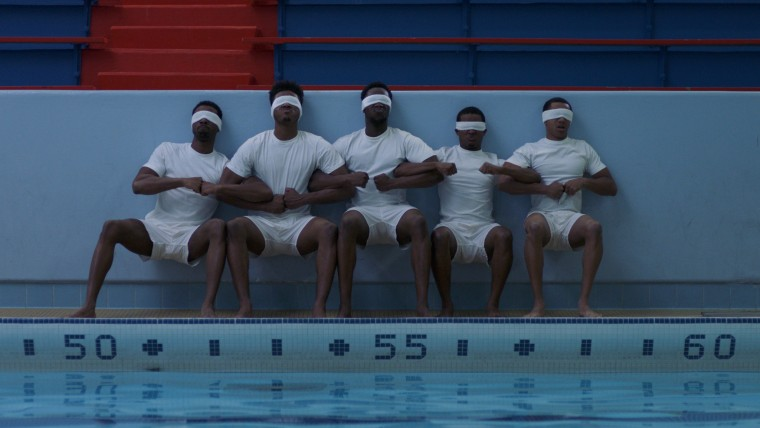Malik Bazille, Trevor Jackson, Tosin Cole, Octavius Johnson and DeRon Horton appear in Burning Sands by Gerard McMurray. Courtesy of Sundance Institute.