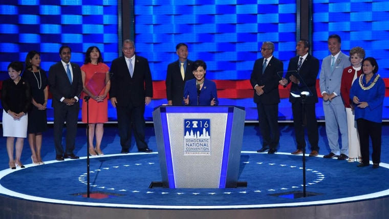 Asian-American members of Congress on stage at the 2016 Democratic National Convention
