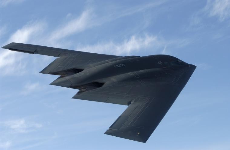 Image: The B-2 stealth bomber is pictured over Whiteman Air Force Base near Knob Noster, Missouri.