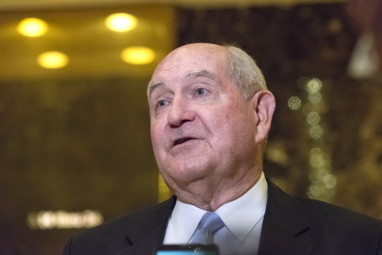 Image: Sonny Perdue, the former Governor of the State of Georgia, speaks with the press following a meeting with US President-elect Donald Trump at Trump Tower in New York, N.Y., on Nov. 30, 2016.
