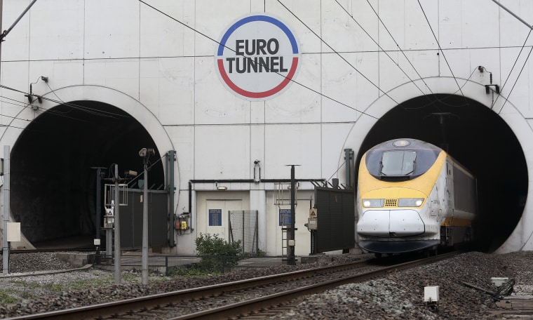 Image: A Eurostar passenger train exits the Channel Tunnel in Calais, France