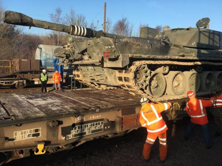 Image: On Wednesday night the U.K. military sent five tanks down the Channel Tunnel to test whether it was an effective way to deploy forces to Eastern Europe.