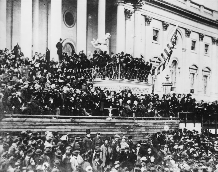 Image: President Abraham Lincoln delivers his second inaugural address on the east portico of the U.S. Capitol in Washington, D.C. in March, 1865.