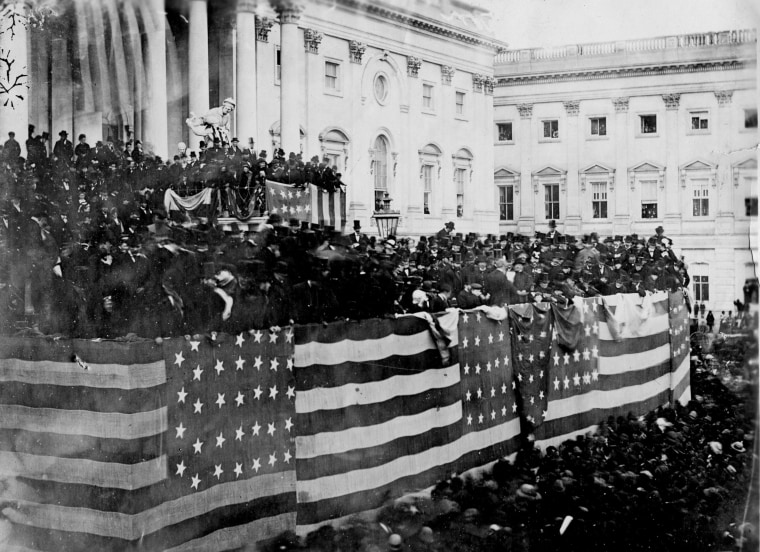 Image: The public inauguration of President Rutherford B. Hayes takes place in front of the U.S. Capitol on the East Portico in Washington, D.C. on March 5, 1877.