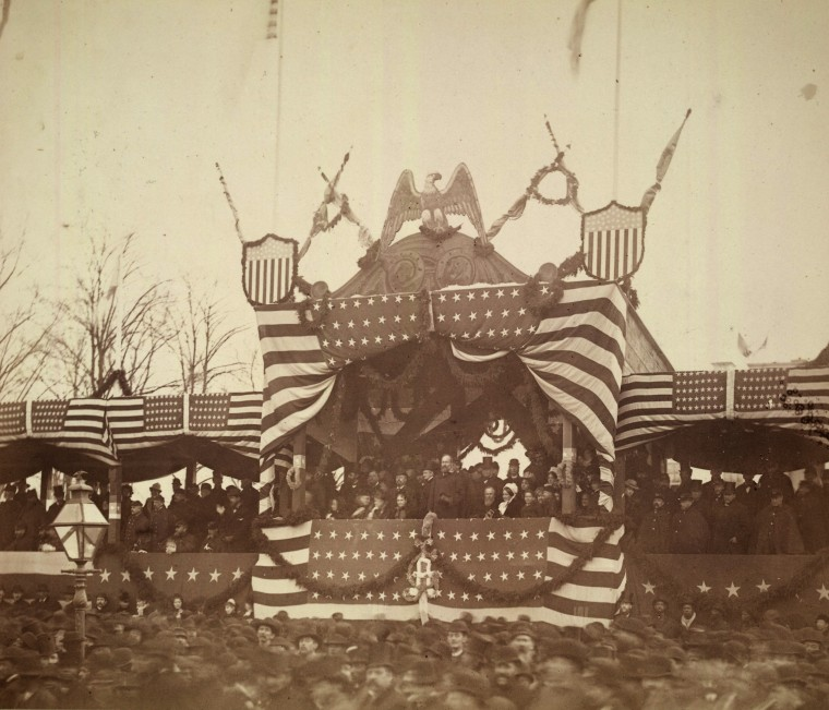 Image: President Garfield in overlooks his inauguration ceremony on March 4, 1881.