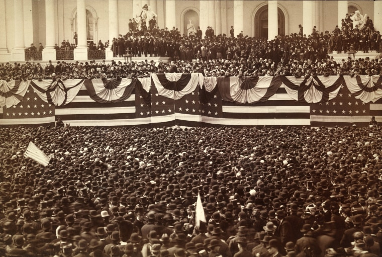 Image: President Grover Cleveland delivers his inaugural address on the east portico of the U.S. Capitol in Washington, D.C. in March of 1885.