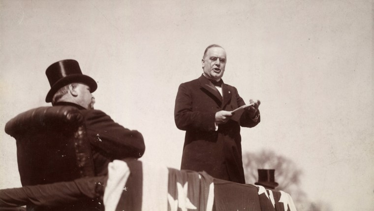 Image: President William McKinley delivers his inaugural address as outgoing President Cleveland listens in Washington, D.C. on March 1897.