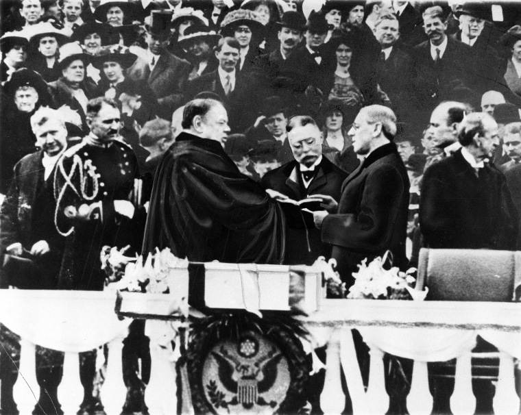 Image: President Woodrow Wilson takes the oath of office for his first presidential term on the East Portico at the U.S. Capitol in Washington, D.C. on March 4, 1913.
