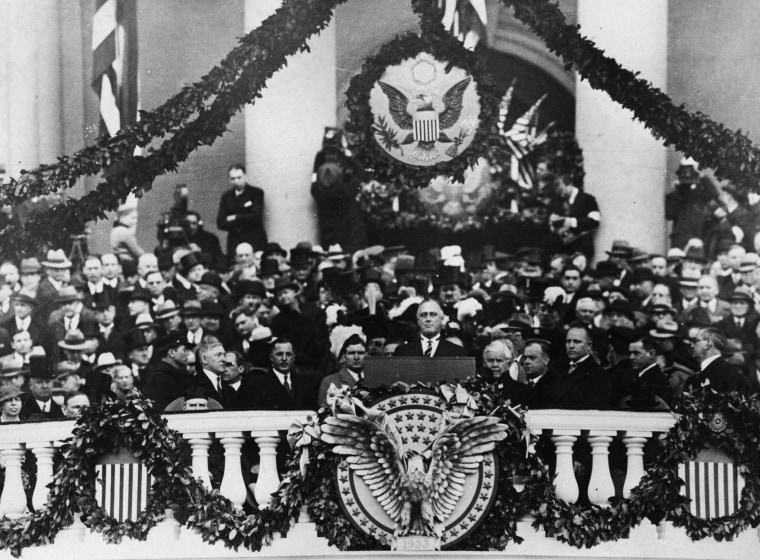 Image: President Franklin Delano Roosevelt gives his inaugural address in 1933.