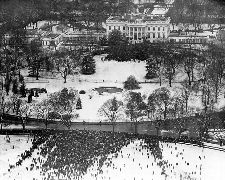 Image: An aerial view of the crowd gathered outside the White House to attend President Franklin D. Roosevelt's 4th Inaugural speech on Jan. 20, 1945 in Washington D.C.