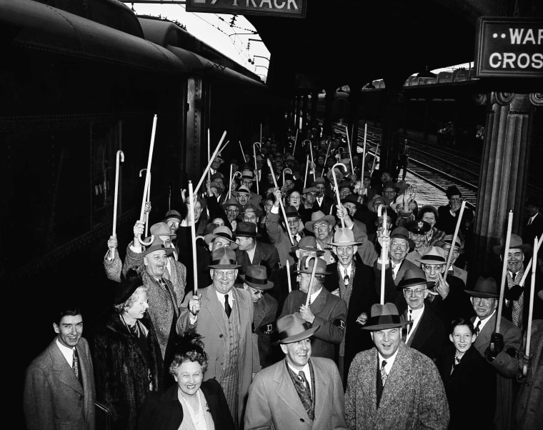 Image: Members of President Harry Truman's World War I outfit arrive at Union Station in Washington, D.C. on Jan. 19, 1949 to take part in the inaugural program.