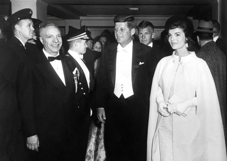 Image: President John F. Kennedy and First Lady Jacqueline Kennedy arrive at the National Guard Armory for the inaugural ball in Washington, D.C. in Jan. 1961.