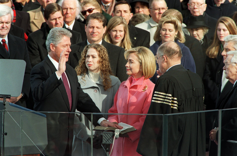 Image: Bill Clinton is sworn in for a second term as president of the United States on Jan. 20, 1997 on Capitol Hill in Washington, D.C.