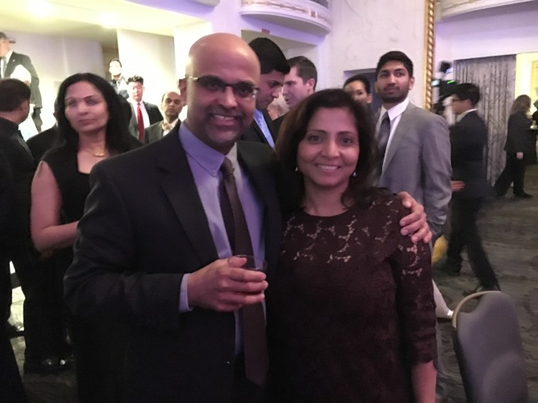 Vinson Palathingal and his wife, Asha, at the APA Inaugural Gala at the Mayflower Hotel in Washington, D.C., on Thursday, January 19, 2017.