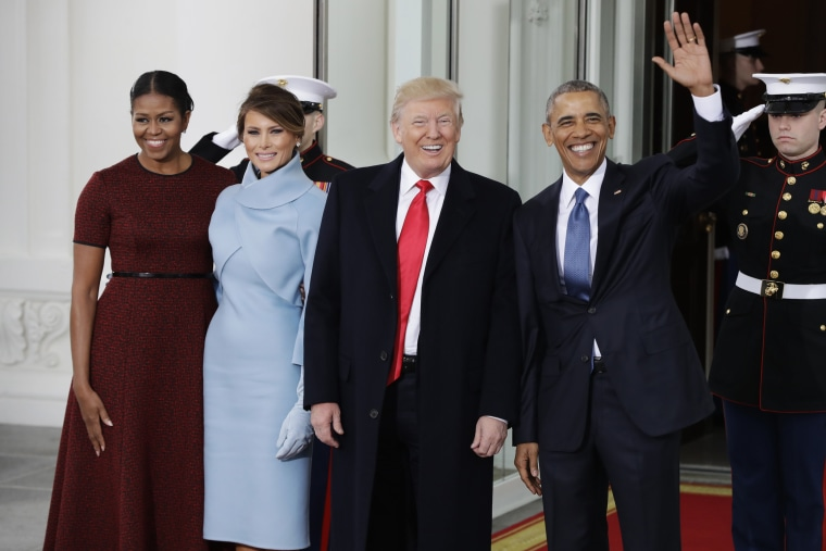 Image: President Barack Obama and first lady Michelle Obama greets President-elect Donald Trump and his wife Melania Trump