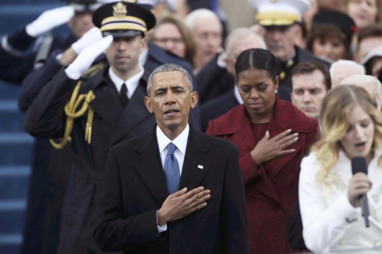 Image: Former president Barack Obama and former First Lady Michelle Obama listen during the national anthem during inauguration ceremonies swearing in Donald Trump as the 45th president of the United States on the West front of the U.S. Capitol in Washing