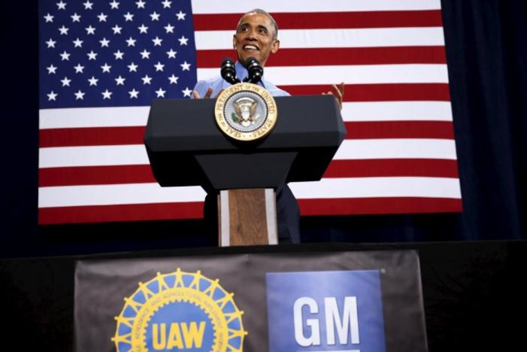Obama delivers remarks on the U.S. auto industry at the UAW-GM Center for Human Resources in Detroit