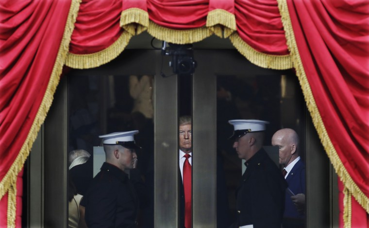 Image: President-elect Donald Trump waits to stop out onto the portico for his Presidential Inauguration