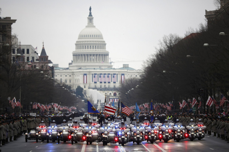 Image: Washington D.C. motorcycle police lead the inaugural parade for U.S. President Donald Trump after he was sworn in at the Capitol in Washington