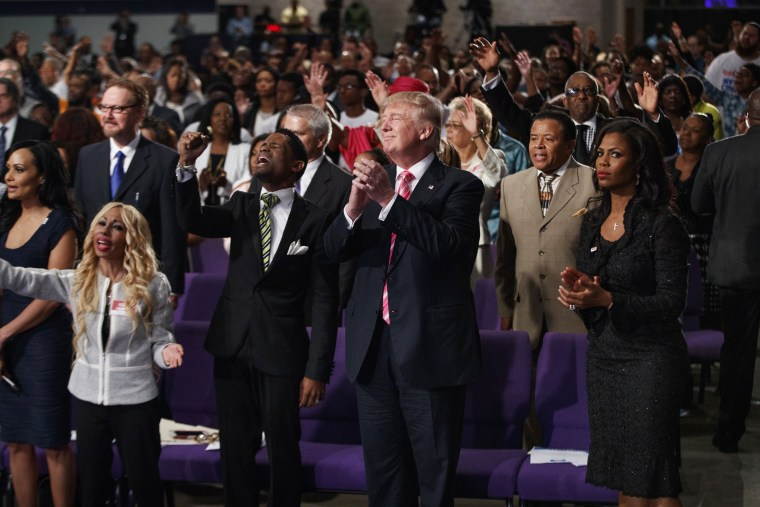 Image: President Donald Trump shown during a church service at Great Faith Ministries on Sept. 3, 2016, in Detroit.