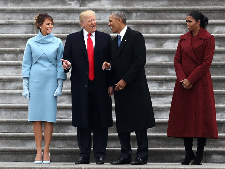 Image: President Donald Trump and former president Barack Obama stand on the steps of the U.S. Capitol with First Lady Melania Trump and Michelle Obama on Jan. 20 in Washington, D.C.