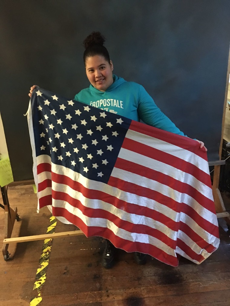 Katerine Campo Rivera, a student at Central Falls High School in Rhode Island, who is participating in the Women's March in Washington along with some students.