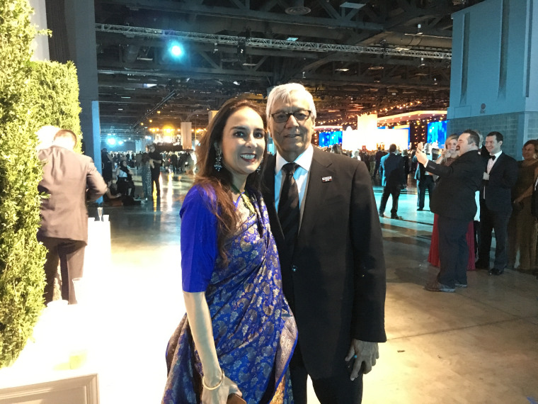 Harmeet Dhillon, Republican national committee woman from California, attends the Freedom Ball with husband Sarvjit Randhawa.