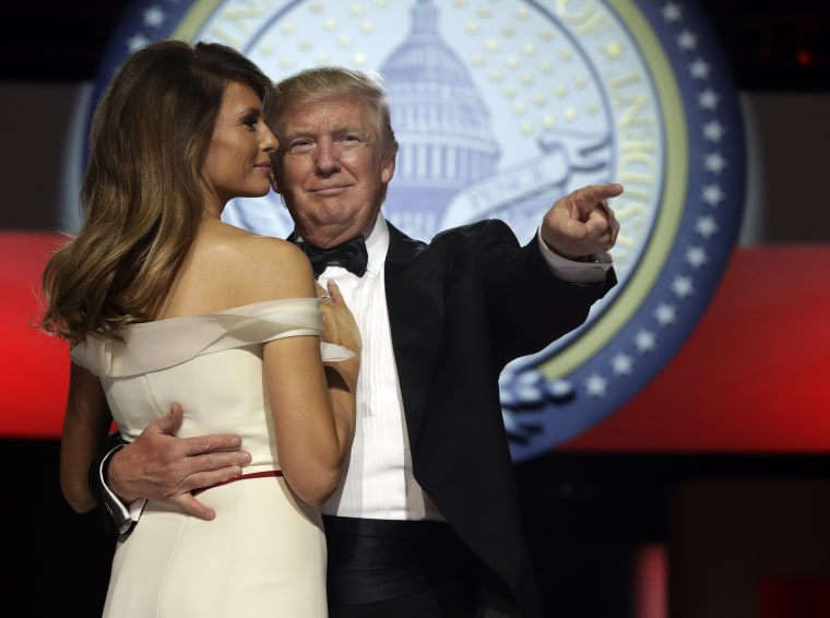President Donald Trump dances with first lady Melania Trump at the Liberty Ball, Friday, Jan. 20, 2017, in Washington.