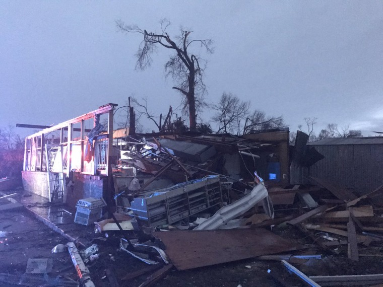 Image: Damage caused by tornadoes in Hattiesburg, Mississippi, Jan. 21, 2017.