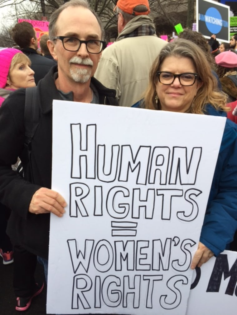 Mark Dunham, 60, and wife Kary, 50, of Beacon, New York, at the Women's March on Washington on Jan. 21, 2017.