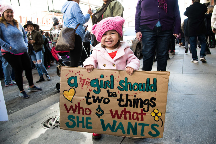Image: Demonstrators gather in Los Angeles for a sister-march to the Women's March in Washington, DC, Jan. 21, 2017.