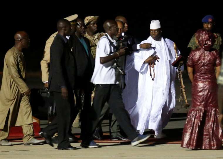 Image: Former Gambian President Yahya Jammeh arrives at the airport before flying into exile from Gambia