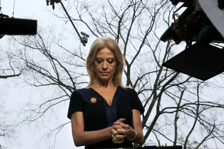 Image: Counselor to U.S. President Donald Trump, Kellyanne Conway prepares to go on the air in front of the White House in Washington, Jan. 22, 2017.