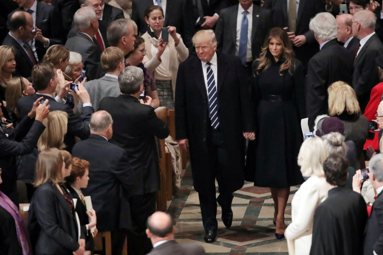 Image: U.S. President Donald Trump and First Lady Melania Trump arrive to a Saturday morning church service at the National Cathedral in Washington, DC, Jan. 21, 2017.