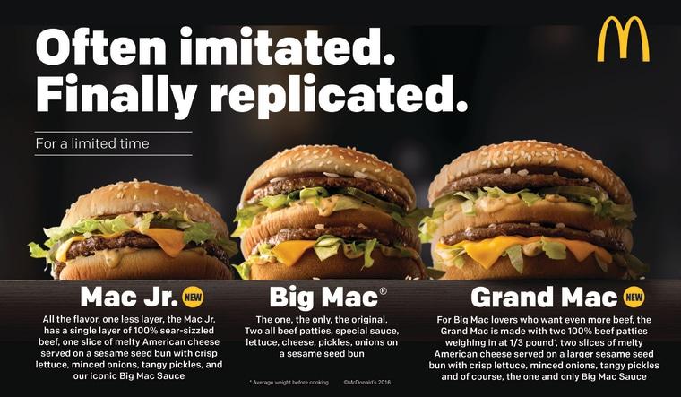 McDonalds Big Mac Smaller And Bigger Sizes