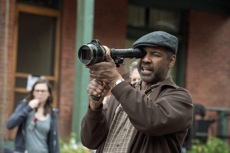 Director Denzel Washington on the set of Fences