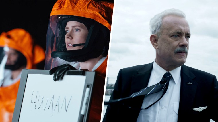 """Tom Hanks in """"Sully"""" and """"Amy Adams in """"Arrival"""""""