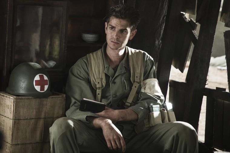 Andrew Garfield stars as 'Desmond Doss' in HACKSAW RIDGE.