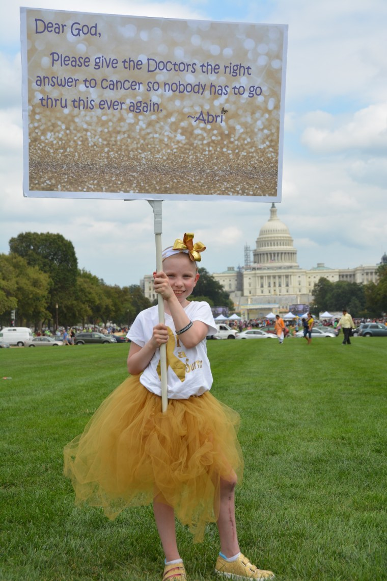 Abriel at CureFest, a rally for pediatric cancer awareness held in Washington, DC.