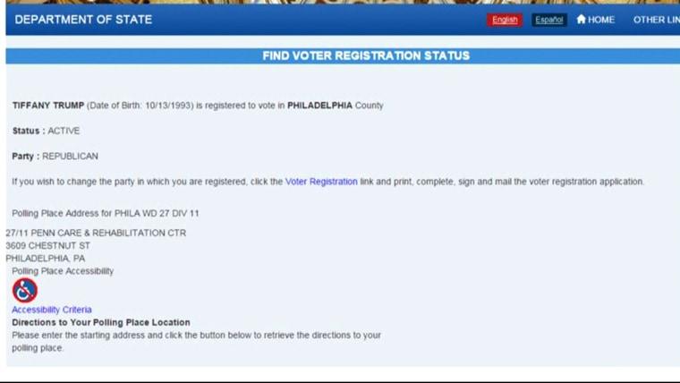 Tiffany Trump's registration status in Pennsylvania.