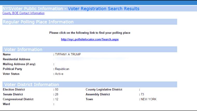 Tiffany Trump's registration status in New York.