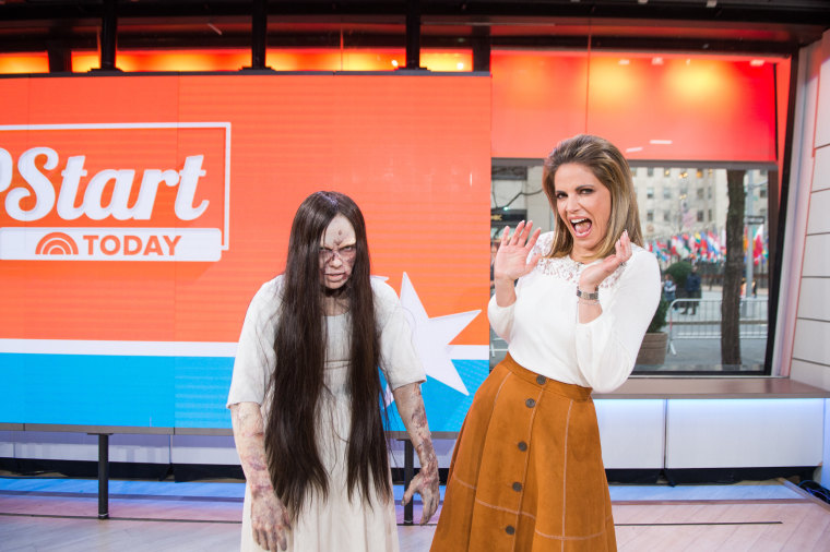 """Natalie Morales meets """"The Ring"""" girl."""