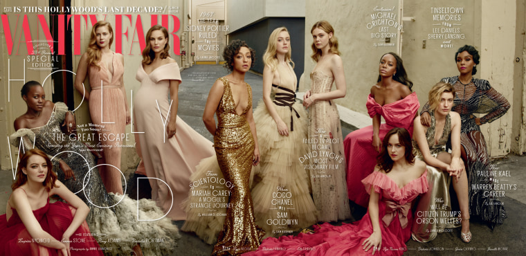 The cover of Vanity Fair's 2017 Hollywood issue, shot by famed celebrity photographer Annie Leibovitz, captures some of today's most exciting Hollywood actresses.