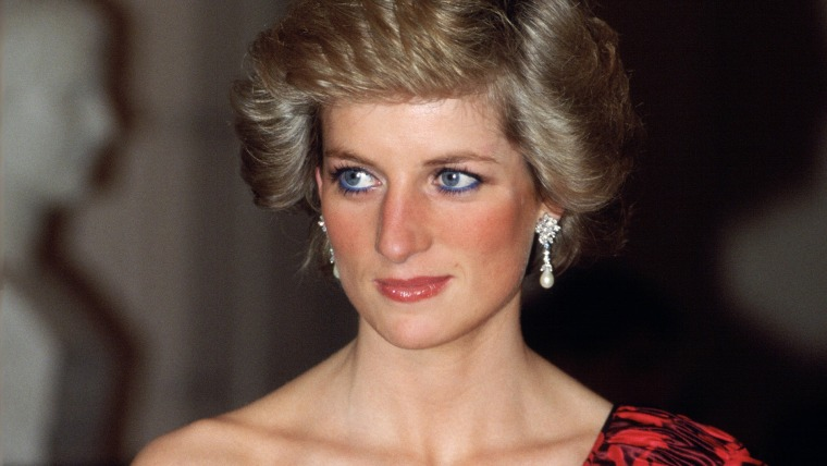 DIANA, PRINCESS OF WALES IN PARIS IN A RED AND BLACK ONE-SHO