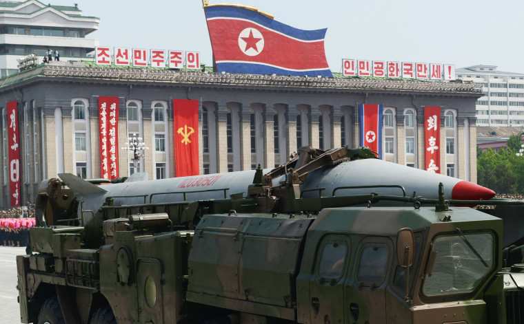 North Korea's short-range Scud missile is shown during a military parade at Kim Il Sung Square in Pyongyang in July 2013.