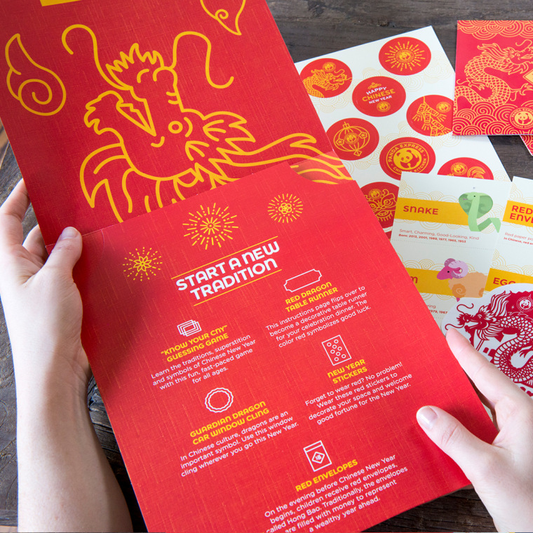 The Celebration Kit from Panda Express contains decorations and games to help celebrate Chinese New Year.