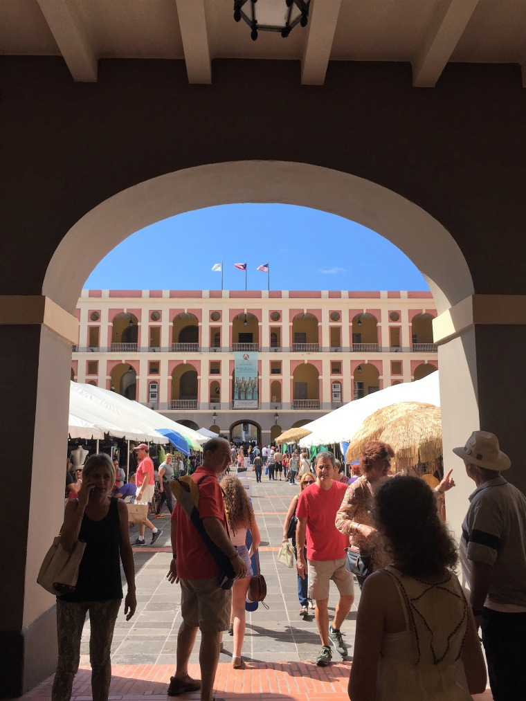 The view upon entering the Cuartel de Ballaj?, once barracks for Spanish soldiers during colonial times, it now houses the artesanos and their creations during the Fiestas.
