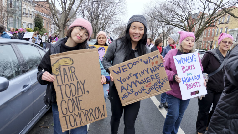 Ann Tran and Carissa Yao, students from Bryn Mawr College in Pennsylvania, traveled to Washington D.C. to attend the Women's March.
