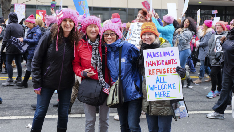 An estimated 500,000 took part in the Women's March on Washington on Jan. 21, 2017. Among the issues that brought marchers to the event were Trump's rhetoric toward immigrants and reproductive rights.