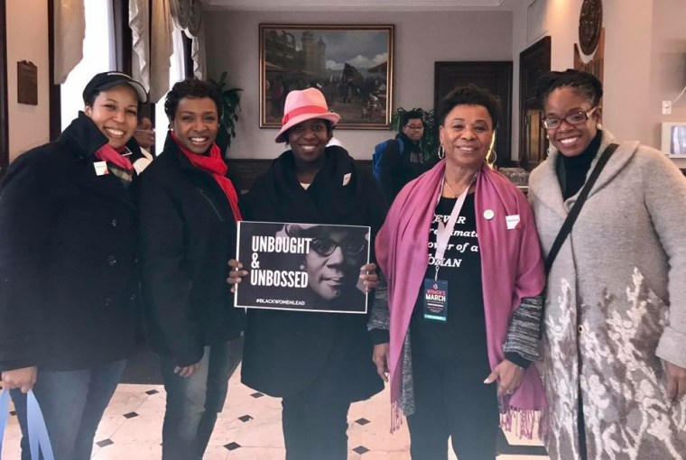 Higher Heights Co-Founder Glynda Carr (far right) at a Women's March kickoff breakfast on Jan. 21, 2017 in Washington, D.C., hosted at the National Council of Negro Women. She's joined by (L-R) Higher Heights Co-Founder Kimberly Peeler-Allen, U.S. Rep. Yvette Clarke, Make It Work Co-Founder Tracy Sturdivant and U.S. Rep. Barbara Lee.